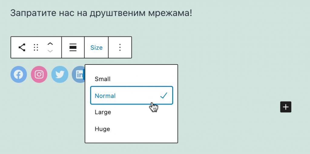 Izbor veličine ikonica za društvene mreže u bloki Social Icons.