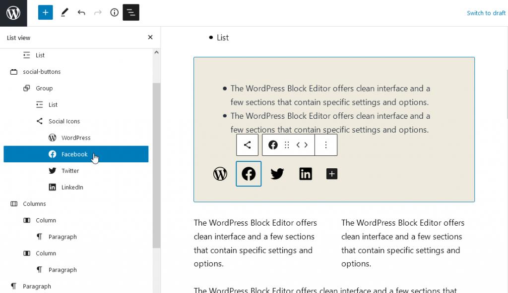 Detaljan spisak blokova (WordPress 5.8 List view) obeležava određeni dodati blok lako.