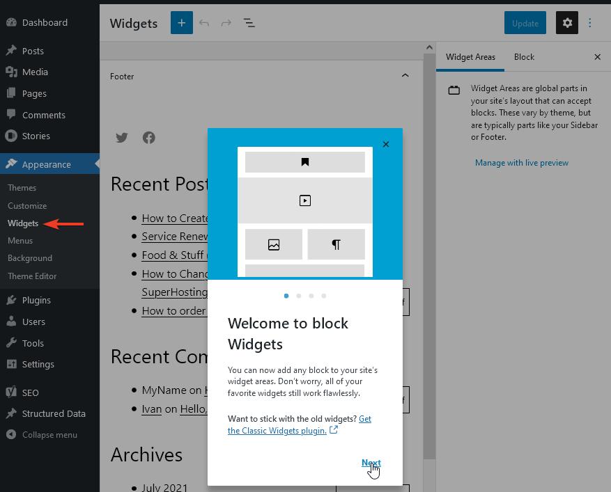 Uređivanje vidžeta pomoću uređivača blokova u WordPress 5.8