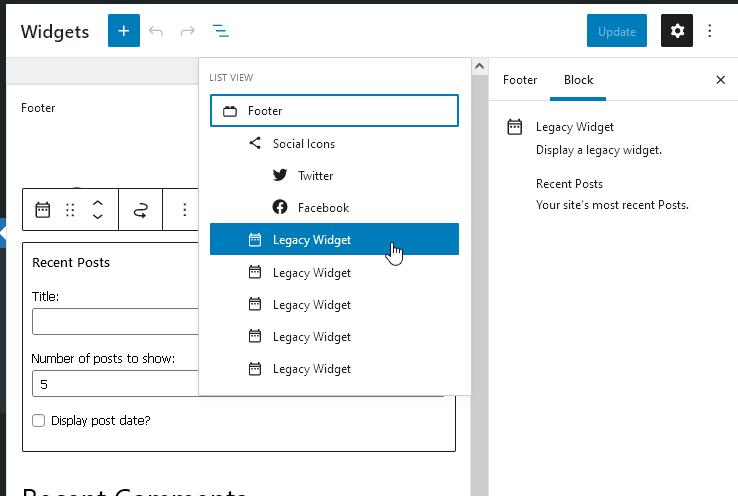 Već dodati vidžeti se nalaze u bloku Legacy Widget i nastaviće da rade u verziji WordPress 5.8