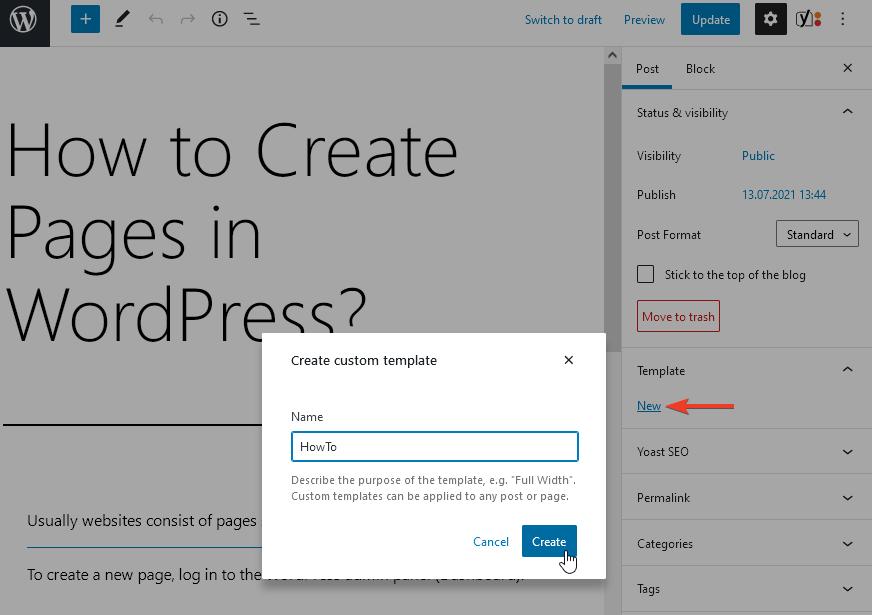 Kreiranje novog templejta za stranicu/objavu putem uređivača blokova u WordPress 5.8
